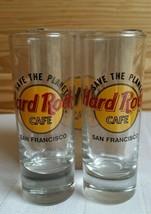 Hard Rock Cafe SHOT GLASS Save the Planet San Francisco Black Letters Se... - $9.98