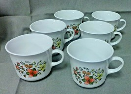 12 Vintage Corelle Indian Summer Set  6 Coffee Mug Cups 6 Saucers Corning Ware  - $39.99