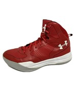 Under Armour youth boys sneakers basketball red white laces size 7Y - $27.71