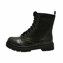 Soda Grunge Black Crocodile Women's High Ankle Lace Up Vegan Combat Boots - $38.95