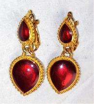 Trifari Candy Apple Red Enamel Puff Heart Clip on Earrings - $21.37