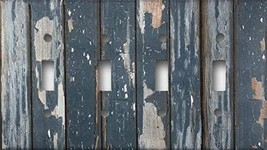 Distressed Rustic Blue Painted Wood Design Quad Four Toggle Decorative Light Swi