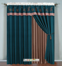 4-Pc Paisley Floral Embroidery Curtain Set Blue Khaki Beige Valance Sheer Liner - $40.89