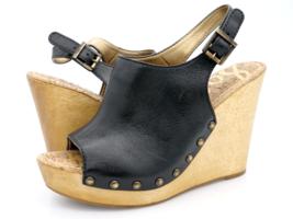 Sam Edelman Womens 9M Black Camillia Leather Wedge Wooden Heel Slingback Sandal  - $34.99