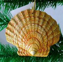 Tropical Beach Seashell Yellow Christmas Ornament ORNShell015 Resin 4 In... - $15.76