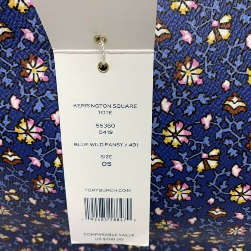 Tory Burch NWT Kerrington Square Tote Leather Blue Wild Pansy $298 Shoulder Bag image 7