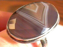 STERLING RING 9 brown AGATE real unisex silver OLD NATURAL BOLD ELEGANT - £43.36 GBP