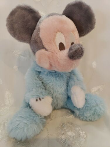 "Primary image for Disney Babies Plush Rattle Mickey Mouse Doll Baby Blue Ultra Soft 9"" Long Pile"