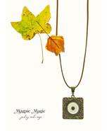 Heritage Drop Necklace: ivory vintage button, antique brass square focal - $15.00