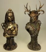 CERNUNNOS & DANU CELTIC GOD Mother Earth BUST Statue Sculpture Bronze Fi... - $142.88