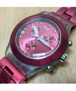 Swatch Swiss Men Red Clear Diamond Accent Quartz Chrono Watch Hour~Date~... - $45.59