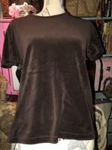 ST.JOHN SPORT by Marie Gray Charming Chocolate Velvet Blouse Size M - $24.75