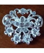 Silver Rhinestone Crystal Round Wedding Cake Brooch Pin Bow Decoration B... - $1.65