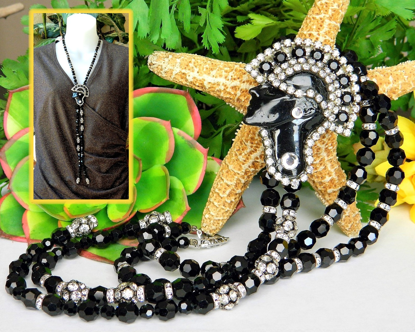 Vintage Art Deco Necklace Flapper Face Pendant Black Glass Rhinestones