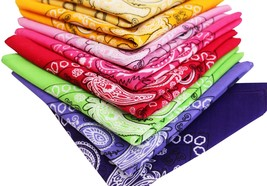 Bandana Paisley Face Cover Mask Scarf 100% Cotton Head Wrap 3, 6,12 Assorted Pcs image 2