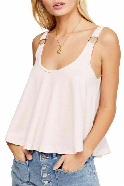 Primary image for Free People Carly Metal Ring Tank Top Slight Crop Loose Fitting ORCHID LIGHT PIN