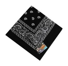 NEW MEN'S 12 PACK COTTON PAISLEY HEAD WRAP SCARF WRISTBAND BANDANA BLACK