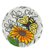 Life is Good Yellow Butterfly SunFlower Cement Stepping Stone Garden 100... - $17.98