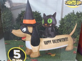 Happy Hallowiener Dog Cat Inflatable Dachshund Airblown 4.5 ft. Gemmy - $73.87