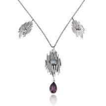 Oxidized 925 Silver Moonstone Amethyst Gemstone Handmade Necklace Jewelry - $64.40