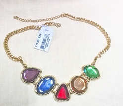 """Cookie Lee Colorful Acrylic Rhinestone Necklace NEW 17-19"""" - $12.00"""