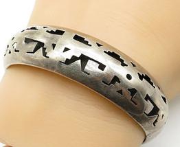 JLA MEXICO 925 Silver - Vintage Cutout Pattern Round Bangle Bracelet - B... - $71.62