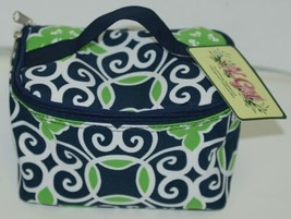 NGIL THQ277NY Canvas Cosmetic Bag Geometric Design Colors Navy White and Green image 1