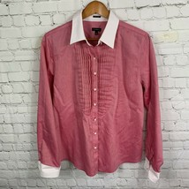 Talbots Women's Pink White Button Front Shirt Collar Long Slv Wrinkle Re... - $26.00