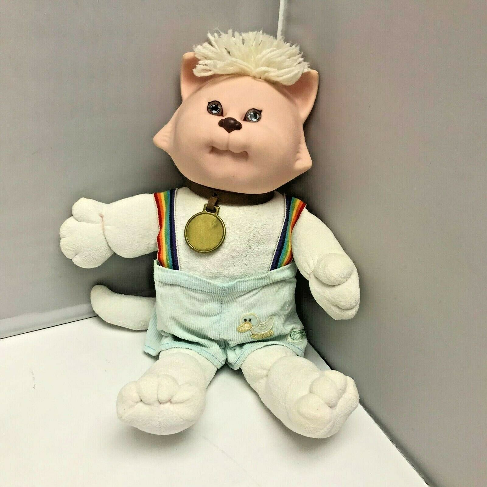 Vintage Cabbage Patch Kids Koosas Rainbow Suspenders Cat Plush Stuffed Animal - $99.99