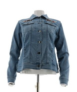 DG2 Diane Gilman Butterfly Embroidered Denim Jacket Pckts CHAMBRAY S NEW... - $57.40