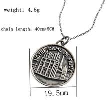 925 sterling silver Notre Dame de Paris pendant neckalce round silver vintage cr - £21.48 GBP
