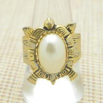 Faux Pearl Spain Damascene Gold Tone Adjustable Turtle Ring Vintage 9.25 - $39.59