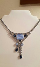 Bridal Blue Moonglow Crystals Statement Choker Necklace  - $24.00