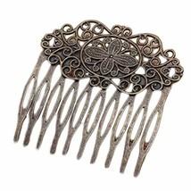 3 Pcs Retro Bronze 10 Teeth Side Comb Metal Hair Clip Hair Comb Flower Vine Cirr