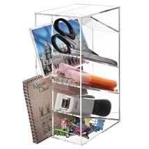 Modern Clear Acrylic Office Desktop Letter Mail Sorter/Pen & Pencil Hold... - $33.19