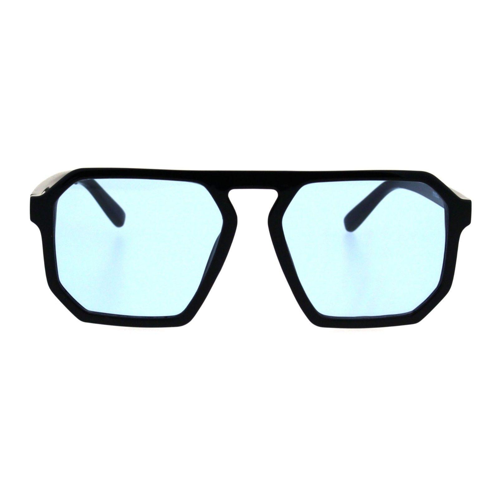 Black Square Heptagon Shape Sunglasses Retro Futuristic Shades UV400 Color Lens