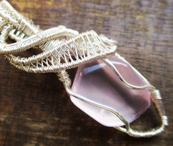 Rose Quartz Copper Wire Wrapped Pendant Necklace Handmade Jewelry T3 - $15.80