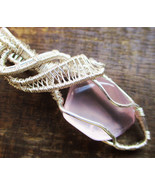 Rose Quartz Copper Wire Wrapped Pendant Necklace Handmade Jewelry T3 - £12.48 GBP