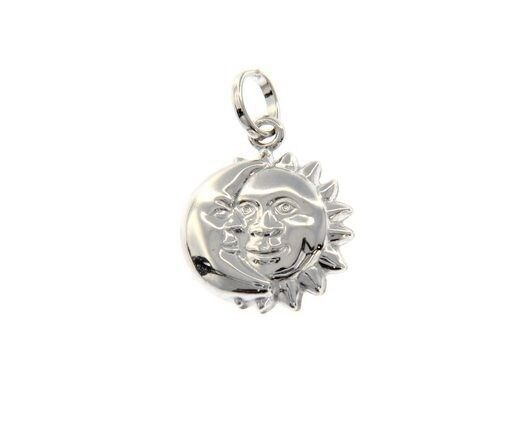 18K WHITE GOLD ROUNDED SUN MOON HUG PENDANT CHARM 22 MM SMOOTH MADE IN ITALY