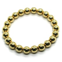 18K YELLOW GOLD BRACELET, SEMIRIGID, ELASTIC, BIG 8 MM SMOOTH BALLS SPHERES image 1