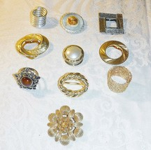 Vintage Scarf Clips Exquisite Collection Of 10 Stone Pearl China Metal Stylish - $30.89