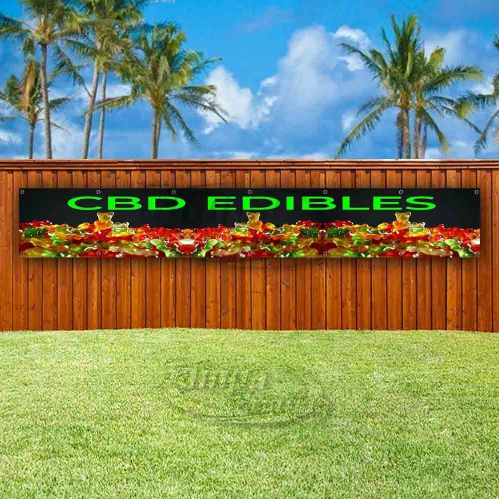 Primary image for CBD EDIBLES Advertising Vinyl Banner Flag Sign LARGE HUGE XXL SIZES