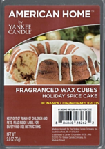 Holiday Spice Cake American Home Yankee Candle Fragranced Wax Cubes Tarts - $3.50