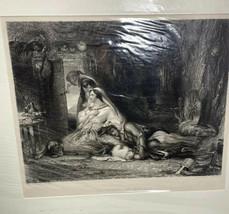 La Caverne Du Brugand D. Wilkie Painter Sharpe Engraver Vintage Print Ar... - $16.65