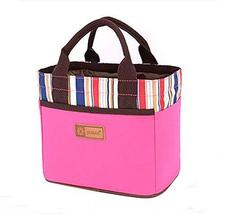 PANDA SUPERSTORE High Capacity The Bag Lunch Box/Bags Colorful Stripes(Pink)