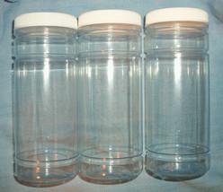 """Twenty Clear Plastic Jars 250cc PVC 5-1/2"""" Tall 2-1/4"""" Wide - $5.14"""