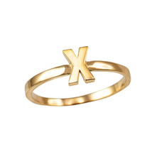 Yellow Gold Initial Letter X Stackable Ring - $79.99