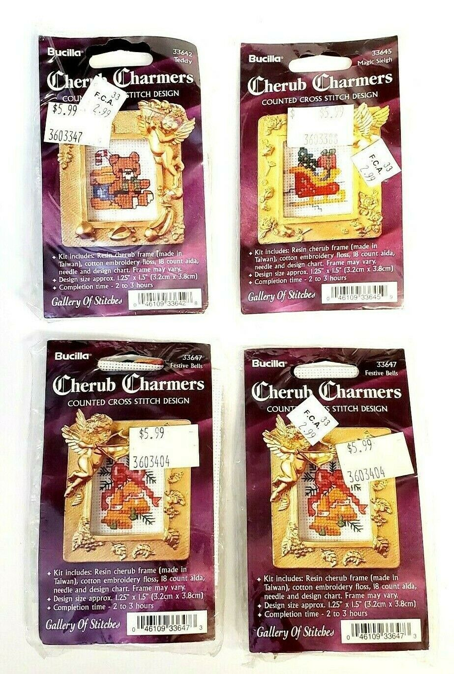 Lot 4 Vintage Bucilla Christmas Cherub Charmers Cross Stitch Kit w/ Resin Frame - $18.95