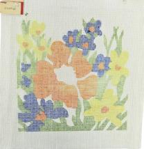 "Vintage 1970's Hand Painted Needlepoint ""2355QP""  Orange Floral In Flowe... - $25.07"