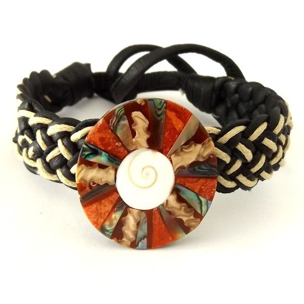 BLACK WHITE LEATHER WOVEN TIE ON FRIENDSHIP BRACELET WITH ABALONE AND CORAL DISC